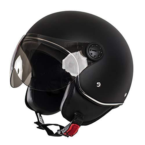 MONACO Jet-Helm mit Visier, Retro Pilot-Helm für Brillen-Träger, Roller-Helm für Frauen und Herren im Vintage-Look, schwarz-matt, Motorrad-Helm, Qualität nach ECE-Norm, L
