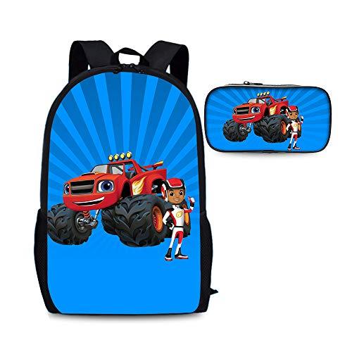 Blaze and The Monster Machines Mochila popular de los estilos Adecuado para escolares y niñas bolsa de bolsas escolares Mochilas + bolsa de lápiz para estudiante Simple con estilo Senderismo Bolsa Niñ