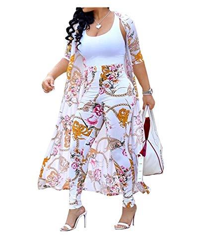 Womens Blumendruck 2 Stück Outfits Open Front Cardigan Cover Ups und Bodycon Lange Hosen Gesetzt