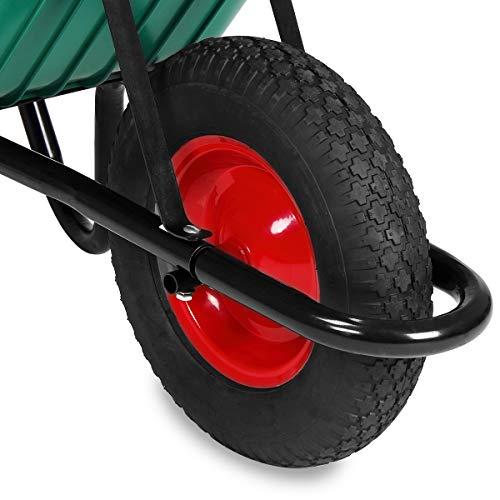 Monzana® Schubkarre 100 Liter Bauschubkarre Gartenschubkarre bis 150kg Belastbarkeit Luftreifen stabile Ausführung mit Kunstoffwanne - 5