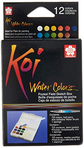 Sakura XNCW-12H, 12 Assorted Watercolors Field Sketch Set with Brush