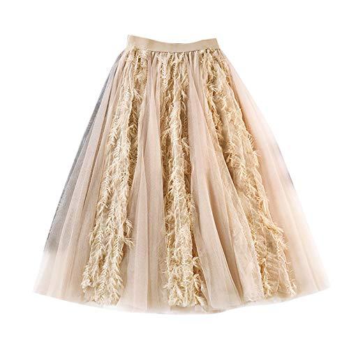 Midi Faldas para Mujeres Faldas Larga De Tul Plisado Cintura Elástica Pink Un tamaño
