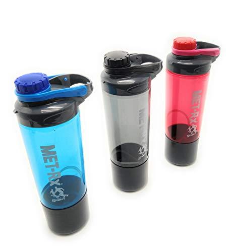 Botella de Agua con vaso. Cantimplora transparente con boquilla, tapón y asa. Capacidad de 700 mL sin fugas. Material de plástico sin BPA. (Azul)