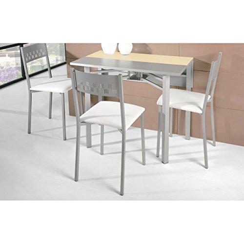 SHIITO - Mesa de Cocina Extensible 93x30 cm con Dos alas texturadas en Gris y Tapa de Cristal