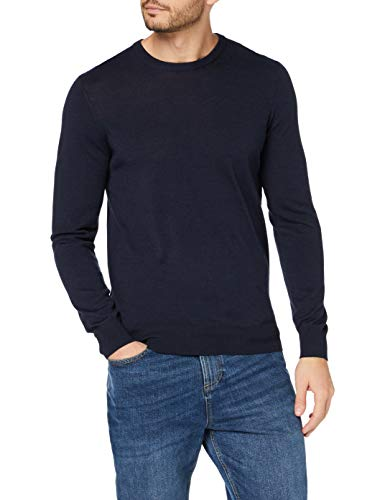 Marchio Amazon - MERAKI Pullover Lana Merino Uomo Girocollo, Blu (Navy), M, Label: M