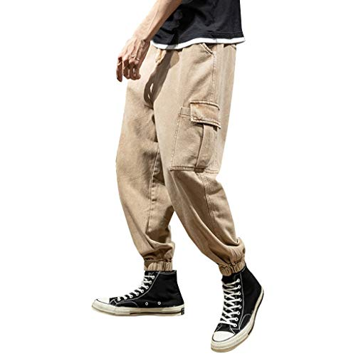Daysing Herren Hohe Qualität Chino Hosen Cargohosen Shorts Mode Männer Freizeit Trousers Overalls für Junge Hip Hop Streetwear Bequem Pure-Color XS-4XL