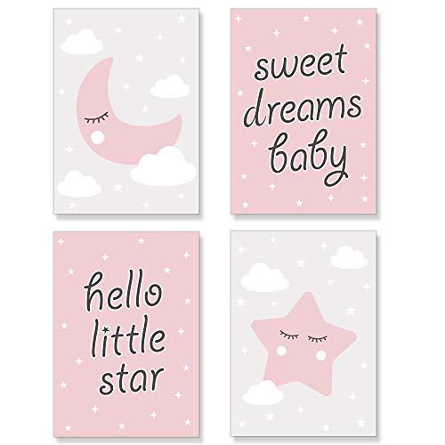PREMYO Cuadros Infantiles para Habitación Niña - Láminas Decorativas para Enmarcar - 4 Póster Luna Estrella Rosa A4