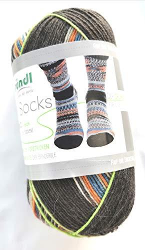Gründl NEU! 4-fädige Sockenwolle mit dem grünen Faden, Simila, 2 identische Socken aus einem Knäuel, 100 gr. 75% Schurwolle / 25% Polyamid, (404 NEU)