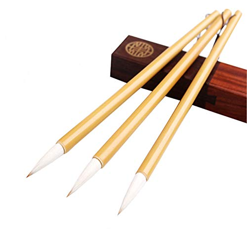 Chinese Calligraphy Brush, Writing Drawing Watercolor Ink Brushes Hubi Painting Kanji Japanese Sumi Wolf Bamboo Brushes Set for Professional Beginner (White)