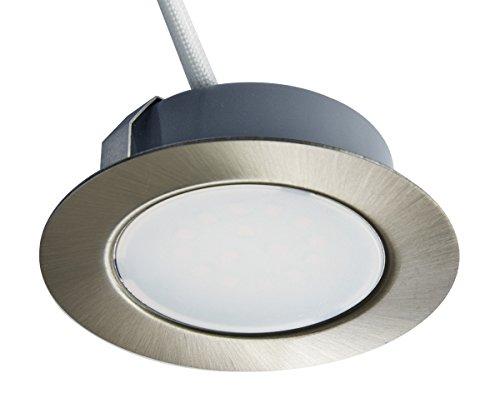 Trango 1 juego 12V AC/DC Foco empotrable LED, empotrado, luz de techo TGG4E-012 níquel mate para reemplazar las luces halógenas para muebles G4 convencionales luces de campana de cocina, etc.
