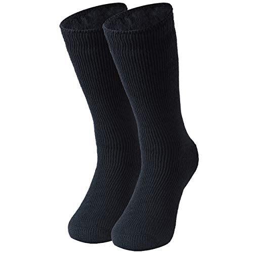 Heavy Thermal Socks, Three street Men's Extremes Cold Weather Boot Socks Warm Winter Slipper Socks,Long Heated Men Insulated Socks Padded Socks Birthday Present Boot Fuzzy Socks For Men Navy 1 Pair
