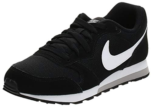 Nike Unisex-Erwachsene Md Runner 2 (Gs) Low-Top, Schwarz (Black/White-Wolf Grey), 38.5 EU
