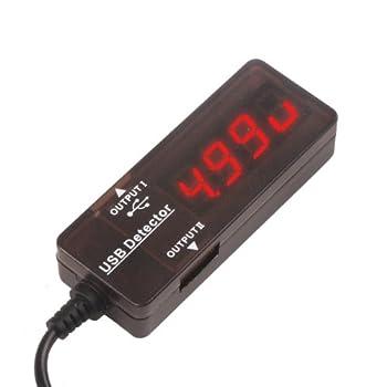 DROK Dual USB Port Digital Volt Amp Power Meter Voltage Tester Red_Universal