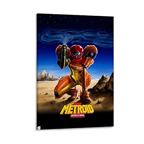 Metroid Ii Return of Samus Leinwand-Kunst-Poster und Wandkunstdruck, modernes Familienschlafzimmerdekor, 40 x 60 cm