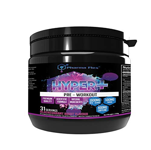 Hyper+ High Strength Pre-Workout Supplement (Blackcurrant Burst Flavour) with Creatine Monohydrate, Beta Alanine, Taurine, Caffeine, Alpha-Keto-Glutarate for Increases Energy and Power Performance
