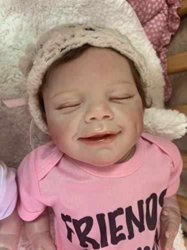 iCradle Reborn Doll Silicone Realistico Bebe Viso Sorridente Miglior Tocco della Pelle Arti in Silicone Tessuto Corpo Ragazzo Ragazza Gemelli Giocattolo per Bambini Regali di Compleanno-No Open