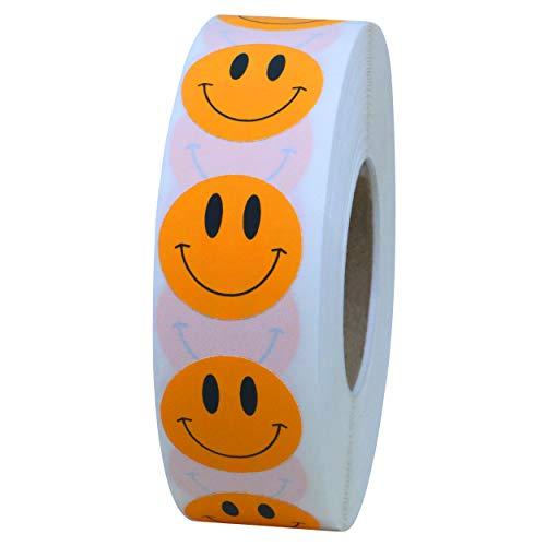 Hybsk Orange Smiley Face Happy Stickers 1 inch Round Circle Teacher Labels 1,000 Total Per Roll (Orange)