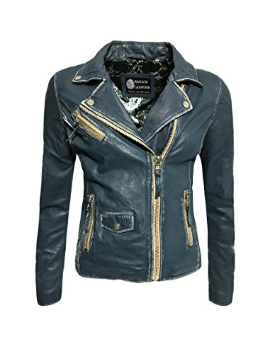 Marlon Leander Damen Lederjacke Biker Jacke Las Vegas Denim Blau Echtleder Asymmetrischer Reißverschluss Gr. 36-48 (44)
