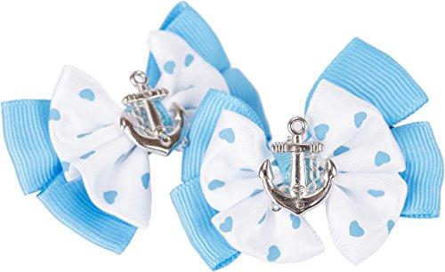 Unbekannt Vintage Ebonie Bow Schleifen Anker Anchor Sailor Haarspange - 1Paar Rockabilly