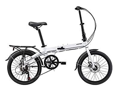 KESPOR K7 Folding Bike for Adults, Women, Men, Rear Carry Rack, Front and Rear Fenders, Shimano 7 Speed Aluminum Easy Folding City Bicycle 20-inch Wheels, Disc Brake (White)