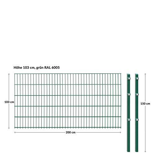 Doppelstabmattenzaun - Komplettset inkl. Pfosten und Montagematerial - Verschiedene Längen und Höhen – Grün oder Anthrazit (L 4 m | H 103 cm | Grün)