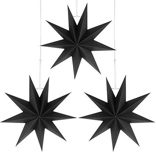Wishstar Papiersterne Schwarz,Faltsterne 30 cm,Stern Deko zum Aufhängen, Kann Verwendet Werden, Zimmer,Fenster, Wohnzimmer, Partys, Hochzeiten zu Schmücken(3 Stück)