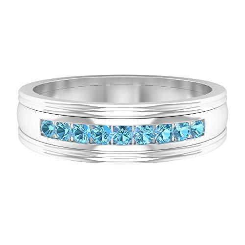 Anillo de piedra natal de marzo, 1/4 quilates forma redonda aguamarina anillo, anillo de boda de dos tonos, anillo de compromiso, anillo de aniversario, 14K Oro blanco, aguamarina, Size:US 46