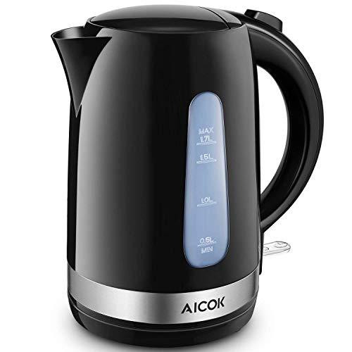 Aicok Wasserkocher, 1,7 Liter Elektrischer Wasserkessel mit Automatischer Abschaltung und Trockenlaufschutz, Herausnehmbarer Kalkfilter, Teekocher Schwarz, Leicht (870g), BPA Frei, 2200W