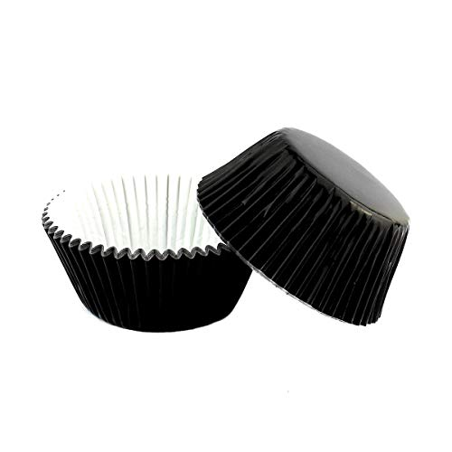Warmparty Foil Baking Cups Cupcake Wrappers Muffin Liners, Standard Sized, 200 Count (Black)