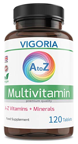 Multivitamin + Minerals A-Z Advance for Energy General Health and Wellbeing - Immune System Brain and Bone Health – Balanced Vitamin Complex for Men and Women Non-GMO - 120 Tablets - Made in The UK