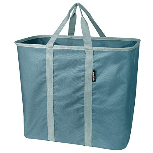 CleverMade Collapsible Laundry Tote, Large Foldable Clothes Hamper Bag, Laundry Caddy Carry All Bin XL Pop-Up Storage Basket with Handles, Dark Teal/Light Teal