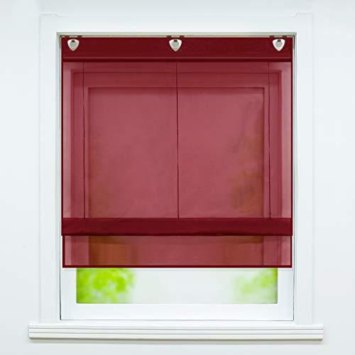 Joyswahl Estor de voile con gancho para colgar, sin agujeros, modelo Hanna, cortinas monocolor, 80 x 130 cm, color rojo vino