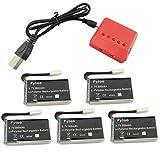 Fytoo 5PCS 3.7V 300mAh Battery& 5-in-1 Charger for Hubsan X4 (H107C, H107D, H107L), Syma X11 X11C, TDR Spider, HS170, HS170C, F180W, F180C FX801 V911S A120 XK A150 V966