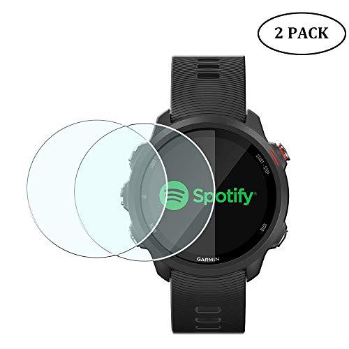 Duttek Protector de pantalla de vidrio templado ultrafino de 0,3 mm, dureza 9H, resistente a los arañazos, para reloj inteligente Garmin Forerunner 245/245