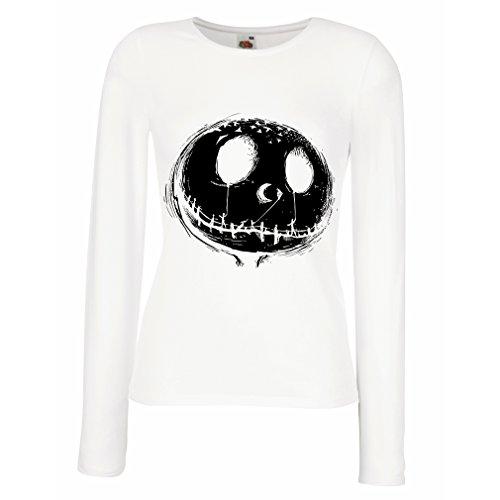 Camisetas de Manga Larga para Mujer cráneo asustadizo Cara - Pesadilla - Ropa de Fiesta de Halloween (Large Blanco Multicolor)