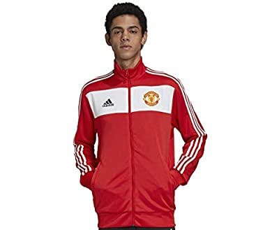adidas mens Manchester United 3-Stripes Track Top Real Red Medium