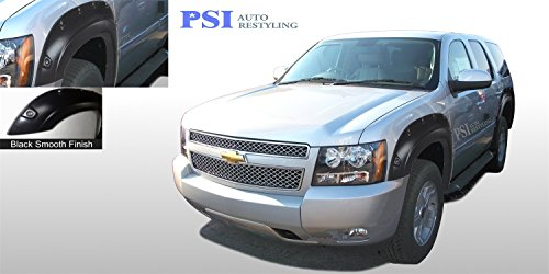 PSI Auto Restyling 800-0131 OEM Style Fender Flares; Front And Rear; Flare Width OEM; Tire Coverage OEM; Smooth Black