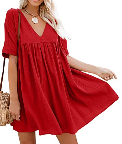 Bigyonger Womens A-Line Short Sleeve Tunic Dress V Neck Soild Babydoll Pleated Mini Dresses Red