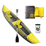 2 Person Inflatable Kayak Inflatable Boat Canoe,Yellow Professional Series Inflatable Fishing Touring Kayak with Aluminum Oars,Pump