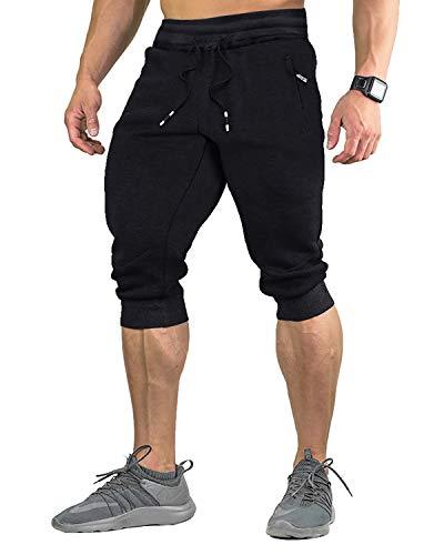EKLENTSON Herren 3/4 Hose Sporthose Atmungsaktiv Trainingshose Cargo Casual Capri Bodybuilding Schwarz Black