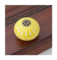ワードローブドアハンドルセラミックノブ/ドレッサーノブホワイトブルーキャビネットプルノブ/ユニークなキッチンドアハンドルノブ家具ハードウェア (Color : Yellow)