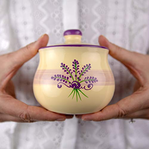 City to Cottage | Sucrier Pot de sucre | beige à motif lavande en céramique avec couvercle fait et peint à la main