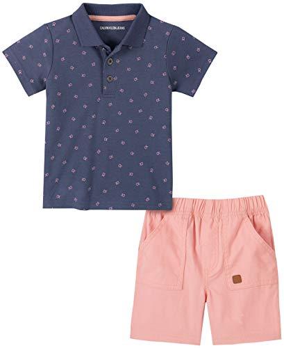 Calvin Klein Baby Boys' 2 Pieces Polo Shorts Set, Blue/Coral, 6-9 Months Blue Infant Two Piece