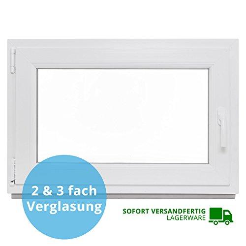 Preisvergleich Produktbild Panorama24 Kellerfenster - BxH: 80x80 cm - Kunststoff - Fenster - weiß - 3-fach-Verglasung - DIN links - 60mm Profil - LAGERWARE