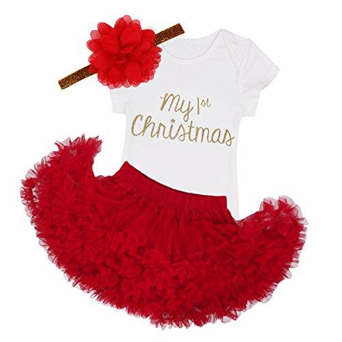 YiZYiF Baby Girls Outfits Newborn Infant First Christmas Tutu Dress Up (18-24 Months, 3PCS 1st Xmas)