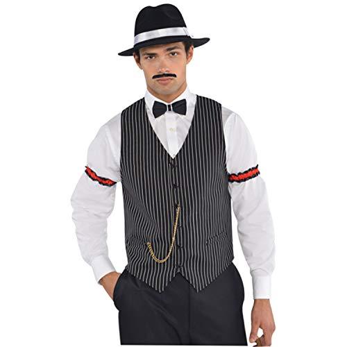 Amscan 844055-55 - Weste Gangster, Einheitsgröße für Herren, schwarz-weiß gestreift, mit Kette, Kostüm, 20er Jahre, Karneval, Mottoparty, Fasching, Halloween, Silvester