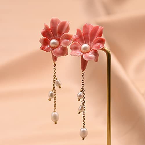 SALAN Pendientes De Gota De Flor De Coral Rojo para Mujer Pendientes De Perforación con Cadena Colgante De Perlas Naturales Nueva Joyería De Plata 925