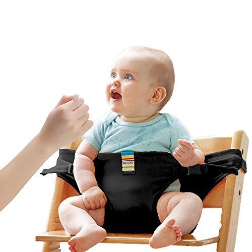 Lychee Faltbar Tragbar Esszimmerstuhl Sicherheitsgurt Schutzgurt Anschnallgurt für Baby und Kleinkind (Schwarz)