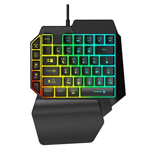 ZHHAOXINPA Gemütlich Mechanische Einhand Tastatur Multimedia Funktionstaste Tragbare Mini Tastatur Mit Handgelenkauflage Hand Spiel Artefakt Linken Spiel Tastatur Klassisch, Black