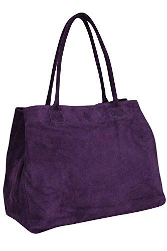 Ambra Moda WL810 - Borsa a mano da donna, in pelle scamosciata, shopper, Viola (Viola scuro), X-Large